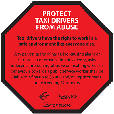 Comfort Delgro Taxi Protect Taxi Drivers From Abuse